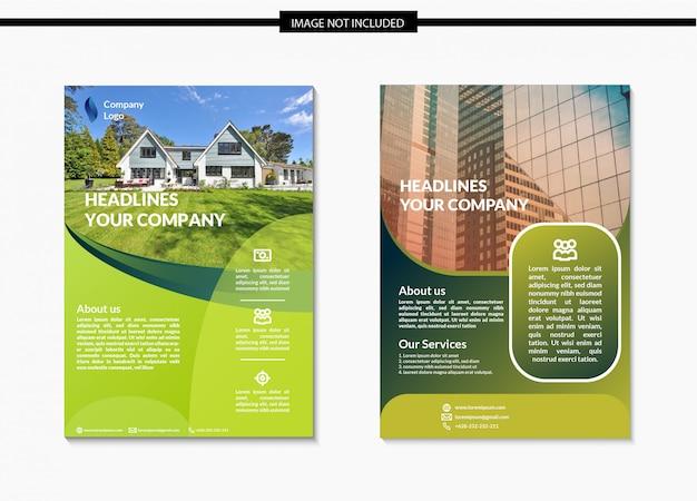 Design del modello flyer verde Vettore Premium