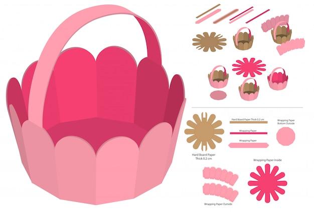 Design del modello fustellato dell'imballaggio della scatola del cestino. mock-up 3d Vettore Premium