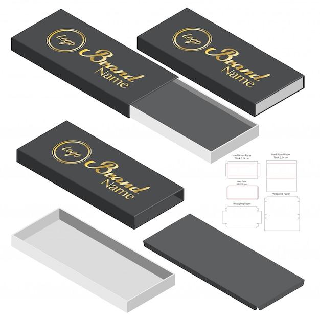 Design del modello fustellato di imballaggio della scatola. 3d Vettore Premium