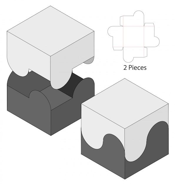 Design del modello fustellato di imballaggio della scatola. mock-up 3d Vettore Premium
