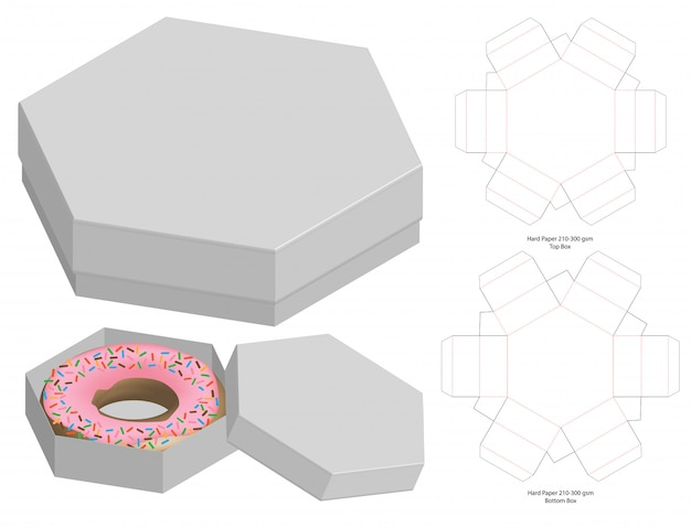 Design del modello fustellato di imballaggio della scatola Vettore Premium