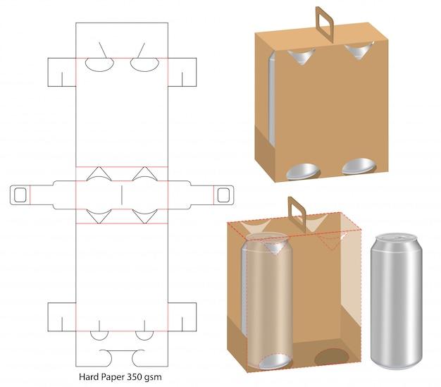 Design del modello fustellato di packaging per bevande Vettore Premium