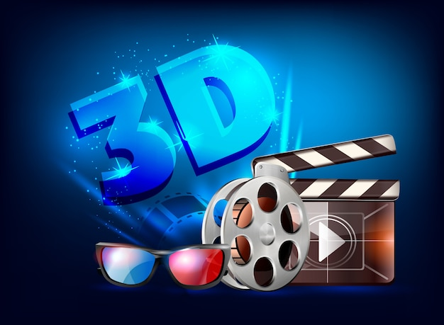 Design del poster cinema 3d. Vettore Premium