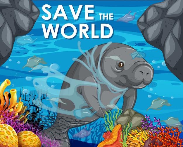 Design del poster con lamantino e sacchetti di plastica nell'oceano Vettore gratuito