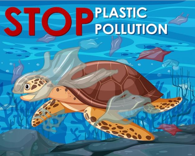Design del poster con tartaruga marina nell'oceano Vettore gratuito