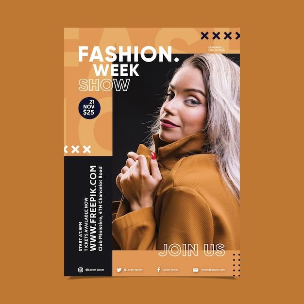 Design del poster di moda con foto di ragazza Vettore gratuito