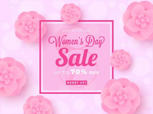 Design del poster di vendita per la festa della donna con sconto del 70% e fiori recisi su carta decorati su sfondo rosa di bokeh. Vettore Premium