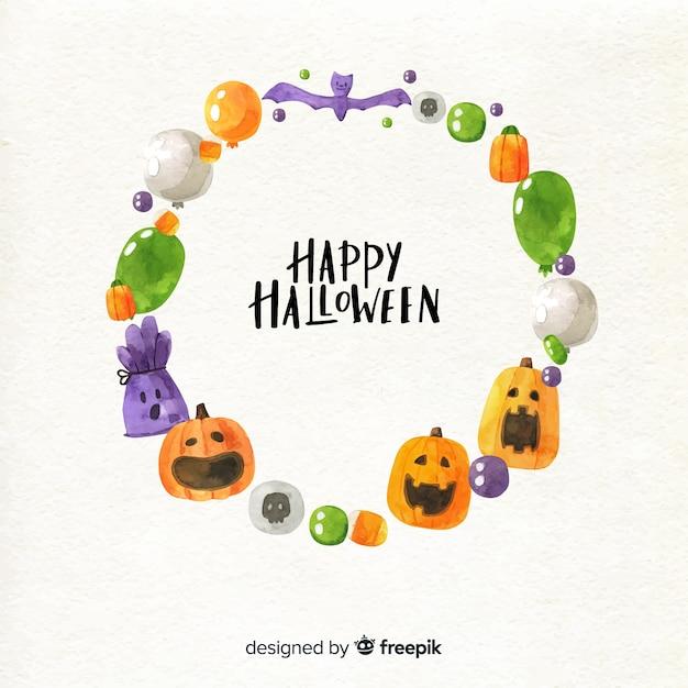 Design del telaio dell'acquerello di halloween Vettore gratuito
