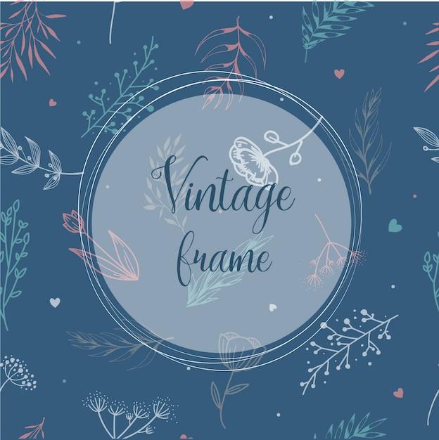 Design del telaio vintage per inviti Vettore Premium