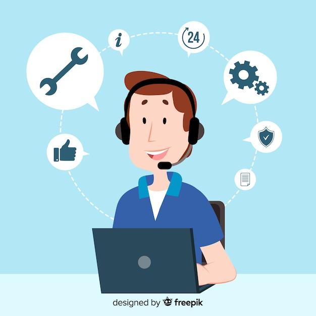 Design dell'agente call center in stile piatto Vettore gratuito