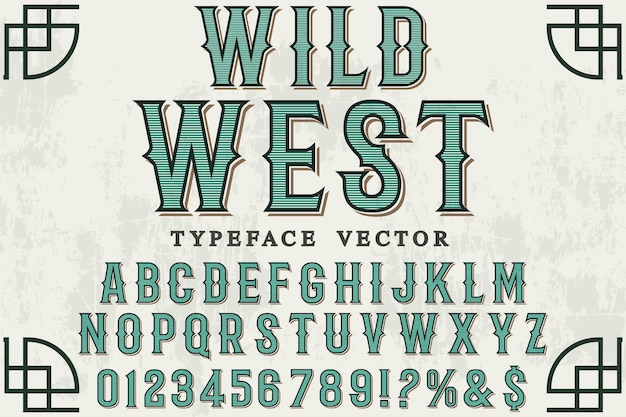 Design dell'etichetta carattere wild west Vettore Premium