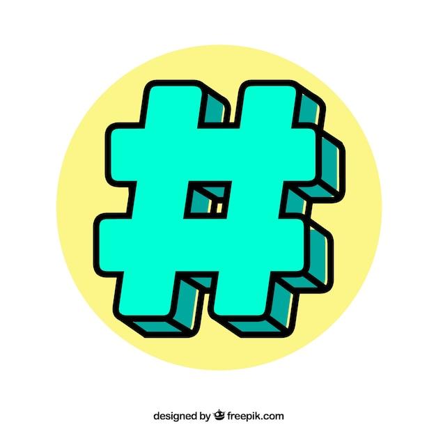 Design dell'hashtag verde Vettore gratuito