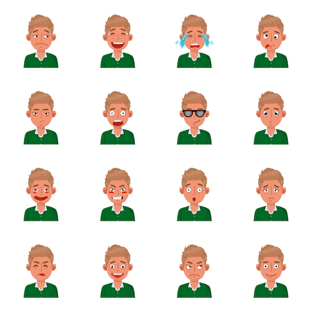 Design dell'icona viso e ragazzo. set di viso e giovane illustrazione di riserva. Vettore Premium