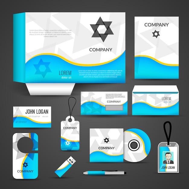 Design dell'identità aziendale, modello di branding. biglietto da visita, copertina, busta, cd, dvd, usb, carta d'identità, cartella Vettore Premium