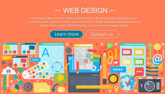 Design dell'intestazione del web design Vettore Premium