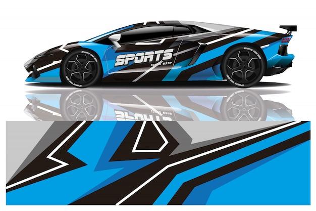 Design dell'involucro adesivo per auto sportive Vettore Premium