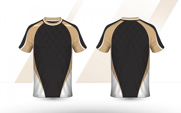 Design della camicia e-sport con layout oro, bianco e nero Vettore Premium