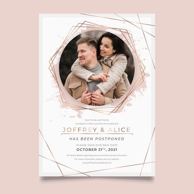 Design della carta di nozze posposto Vettore gratuito