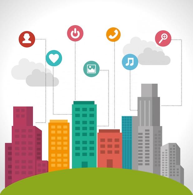 Design della città intelligente Vettore Premium