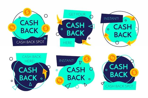 Design della collezione di etichette cashback Vettore gratuito