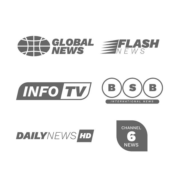 Design della collezione logo notizie Vettore gratuito