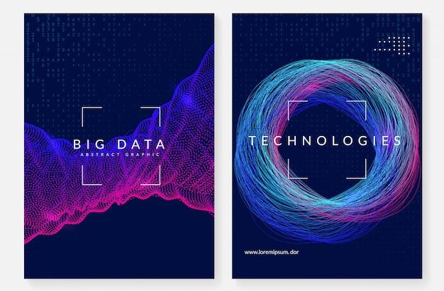 Design della copertina di visualizzazione. tecnologia per big data Vettore Premium