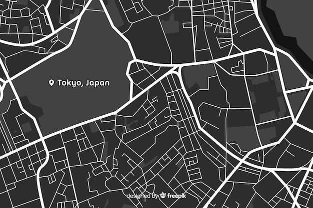 Design della mappa della città in bianco e nero Vettore gratuito