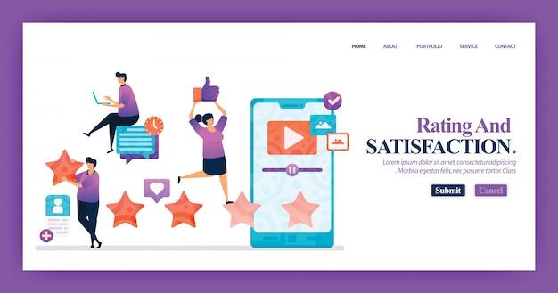 Design della pagina di destinazione del livello di soddisfazione Vettore Premium