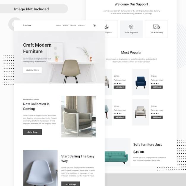Design della pagina di destinazione di vendita di mobili Vettore Premium