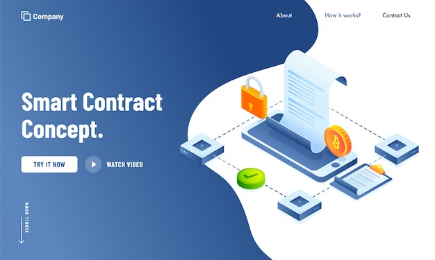 Design della pagina di destinazione digital smart contract Vettore Premium