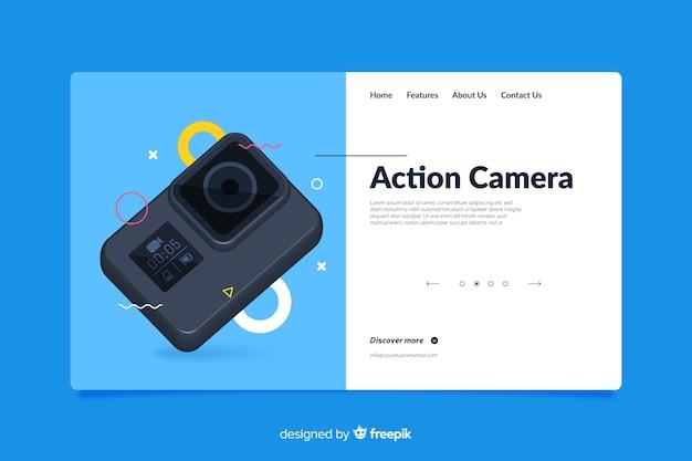 Design della pagina di destinazione per la macchina fotografica Vettore gratuito