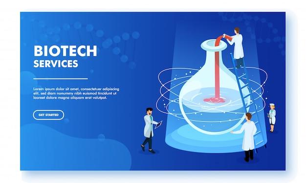 Design della pagina di destinazione reattivo del servizio biotech Vettore Premium