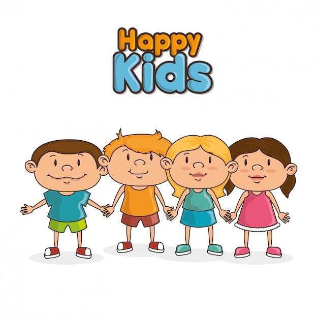 Design di bambini felici Vettore Premium