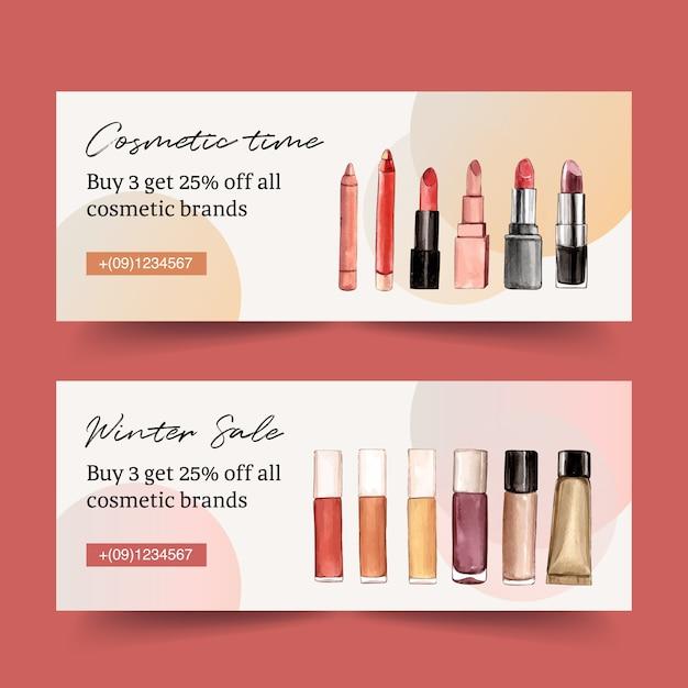 Design di banner cosmetici con vari rossetti Vettore gratuito