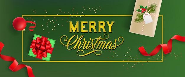 Design di banner di buon natale. bauble, scatole regalo Vettore gratuito