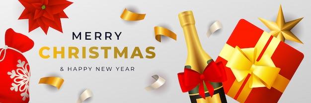 Design di banner di buon natale con champagne e confezione regalo Vettore gratuito