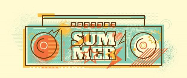 Design di banner di estate Vettore Premium