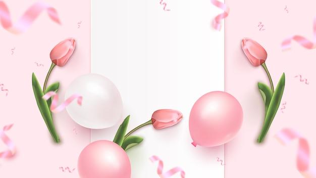 Design di banner di festa con cornice bianca, mongolfiere bianche e rosa, coriandoli di fogli cadenti e tulipani su sfondo roseo. modello di festa della donna, festa della mamma, compleanno, anniversario. illustrazione Vettore Premium