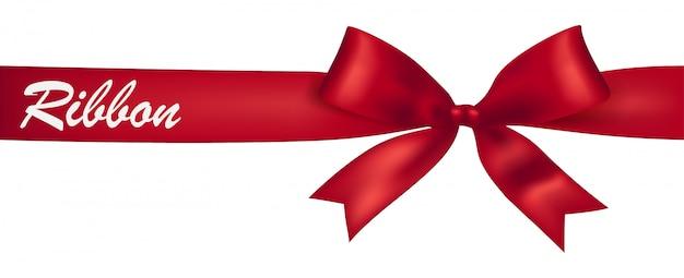 Design di banner nastro rosso Vettore Premium