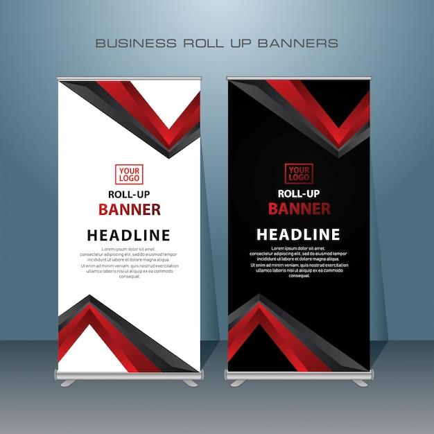 Design di banner roll up creativo in colore rosso Vettore Premium