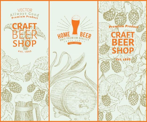 Design di birra. sfondo di birra d'epoca. illustrazione di luppolo disegnato a mano di vettore. set di banner stile retrò. Vettore Premium