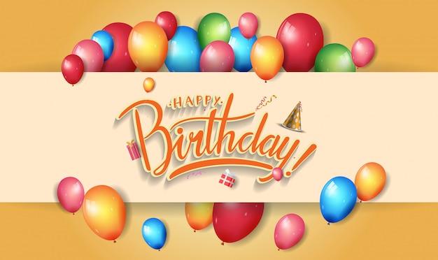 Design di buon compleanno per banner, poster, carta di invito con elemento colorato compleanno Vettore Premium