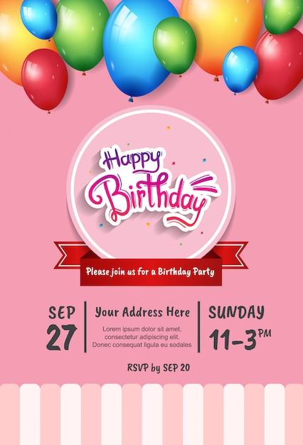Design di buon compleanno per la celebrazione della festa, poster, banner e sfondo Vettore Premium