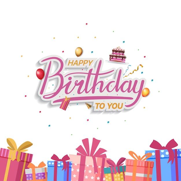 Design di buon compleanno per sfondo, banner e carta di invito Vettore Premium