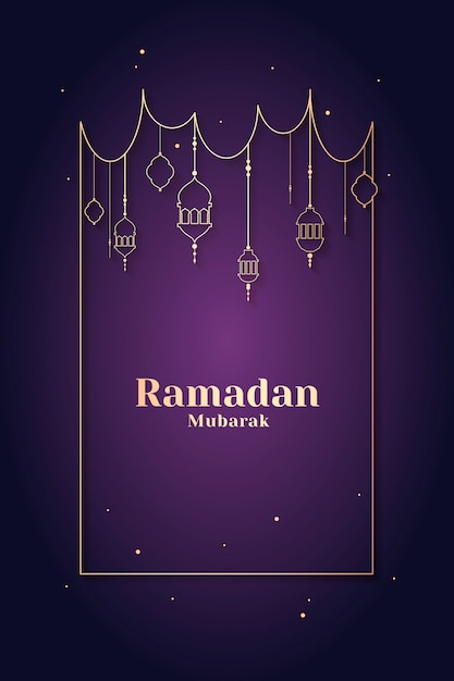 Design di carte incorniciato da ramadan Vettore gratuito