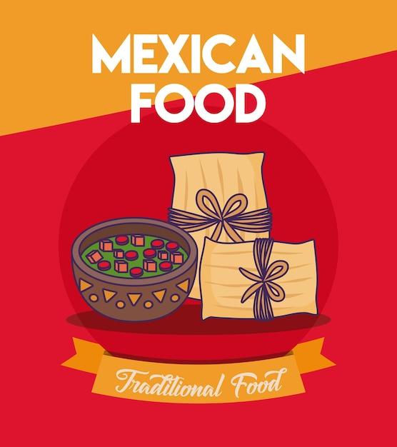 Design di cibo messicano con tamales e bottiglia di salsa Vettore Premium