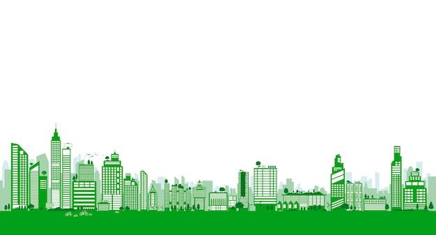 Design di città verde di edificio e albero con spazio di copia Vettore Premium