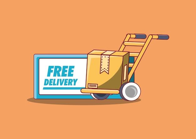 Design di consegna gratuito con carrello a mano con scatola di cartone Vettore Premium