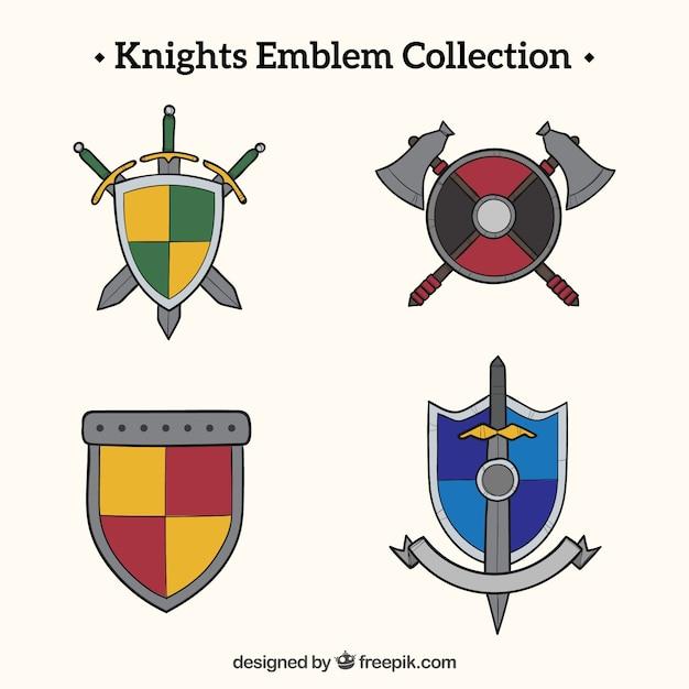 Design di emblema del cavaliere in diversi colori - Cavaliere modello a colori ...