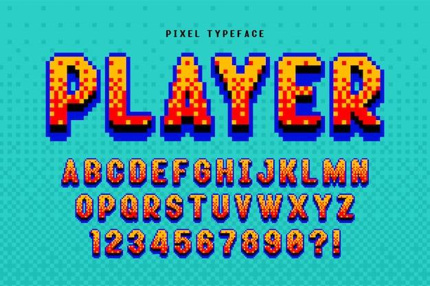 Design di font pixel vettoriale, stilizzato come nei giochi a 8 bit. Vettore Premium